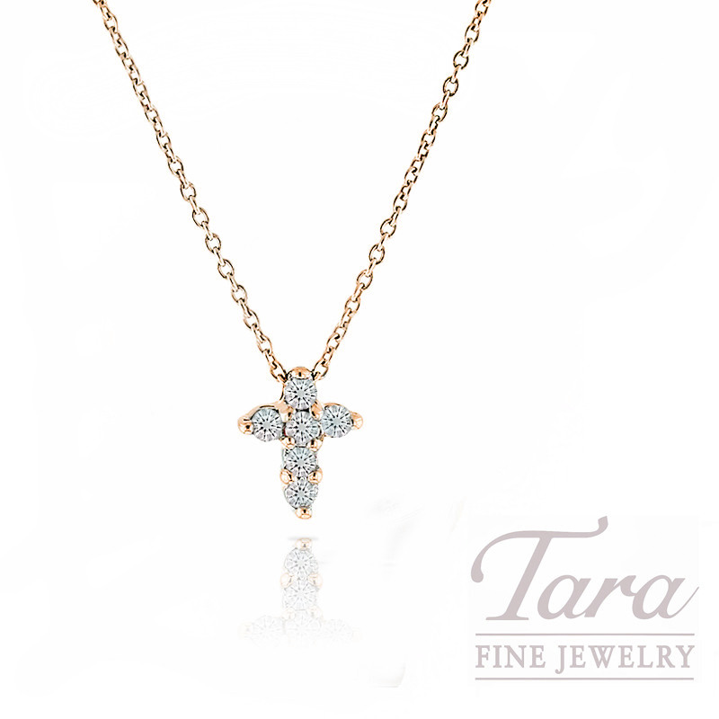 Roberto coin 18k rose gold tiny diamond cross necklace 1618 roberto coin 18k rose gold tiny diamond cross necklace 1618 chain mozeypictures Image collections