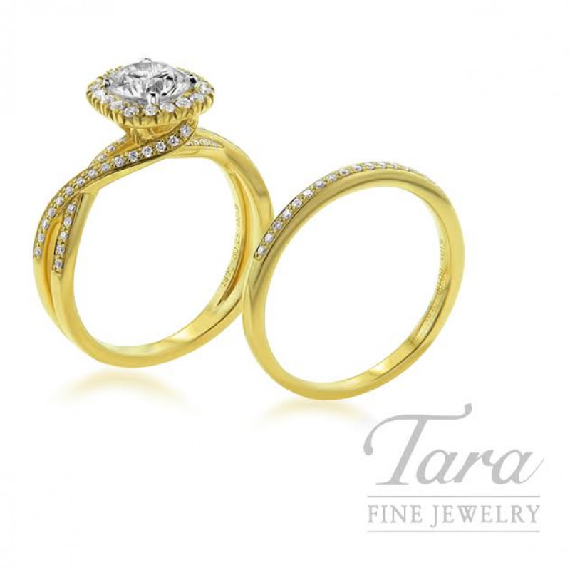 Simon G 18k Yellow Gold Diamond Wedding Set, .29TDW in Semi-Mount, .09TDW in Band (Center Stone Sold Separately)