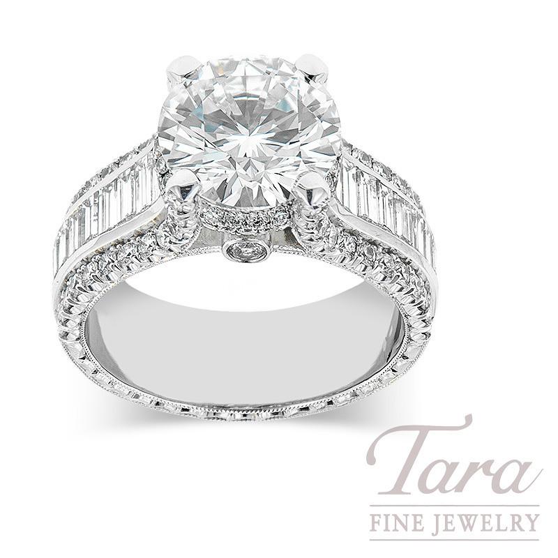 Jack Kelege Platinum Forevermark Diamond Ring, 2.02CT Forevermark Diamond, 13.9G, 1.00TW Baguette Diamonds, .79TW Round Diamonds (Center Stone Sold Separately)