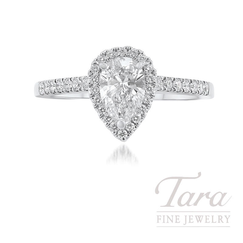 Forevermark 18k White Gold Pear-shape Diamond Halo Engagement Ring - Click for Available Sizes!