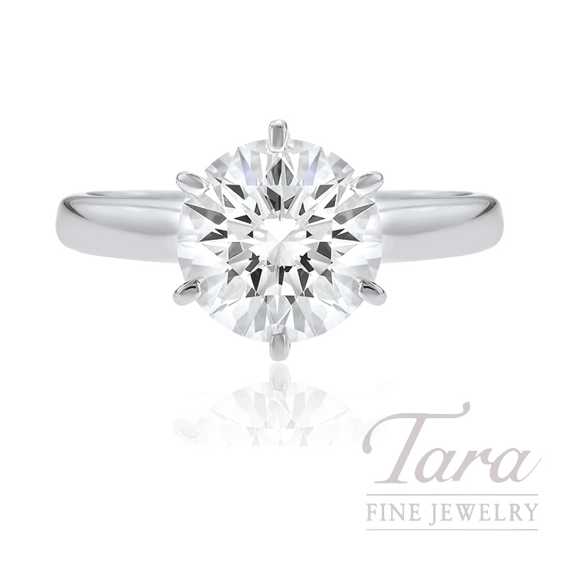 18k White Gold Diamond Solitaire Engagement Ring, 3.05CT Round Brilliant Center Diamond