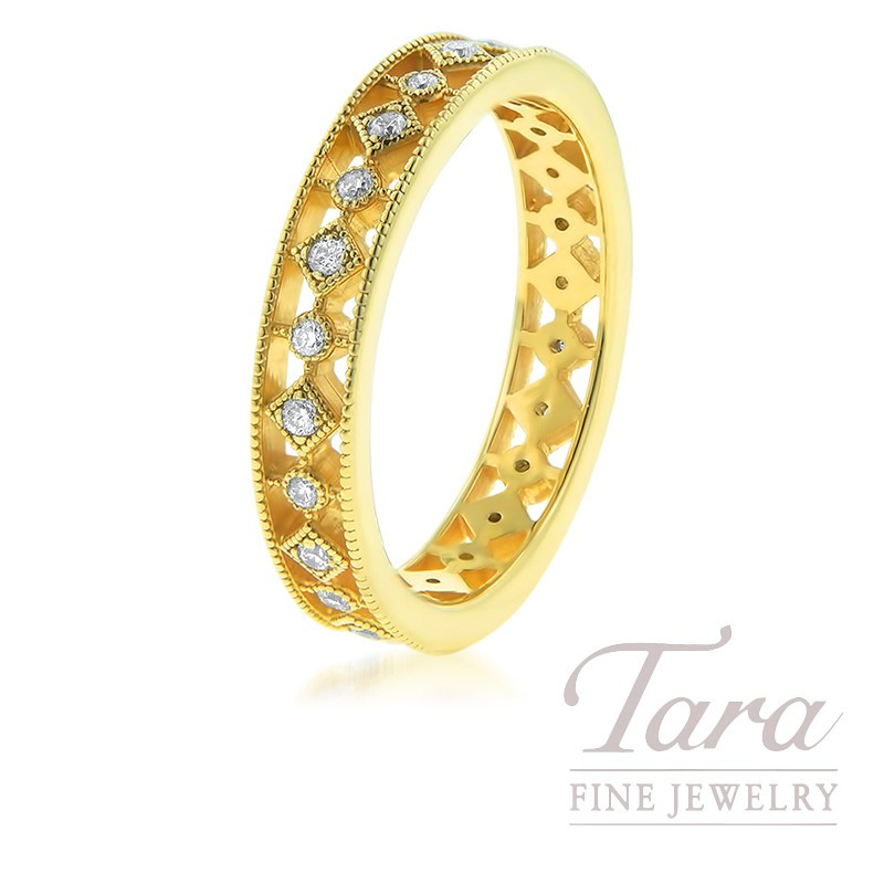 18K Yellow Gold Stackable Band, .24TDW