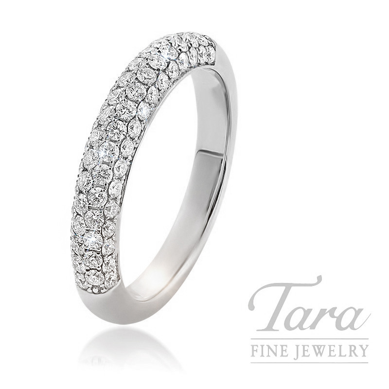 18k White Gold Pave Diamond Band, 4.0G, .68TDW