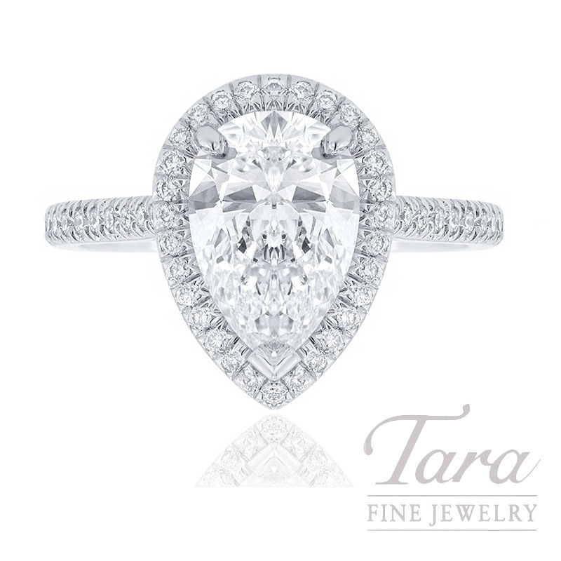 18K White Gold Pear-shape Diamond Halo Engagement Ring, 1.72CT Pear-shape Diamond, 3.2G, .32TDW (Center Stone Sold Separately)