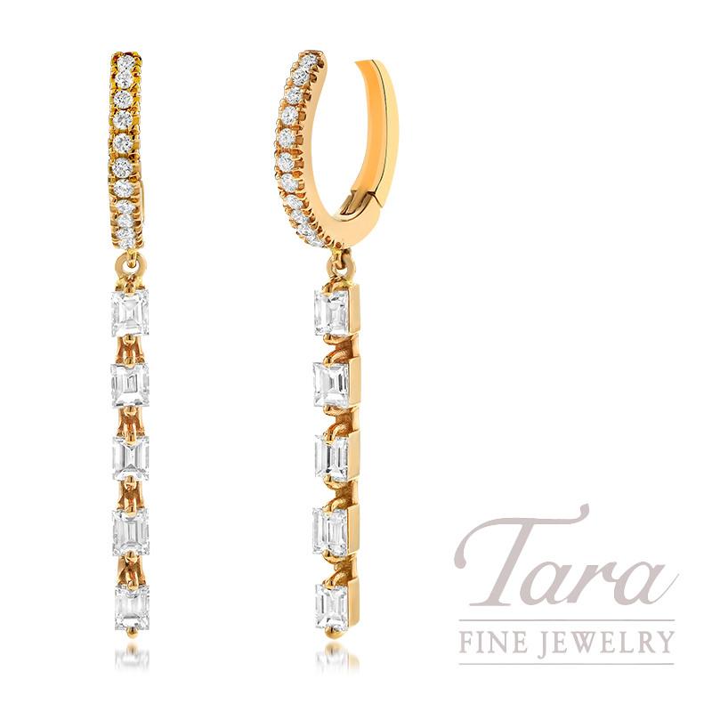 Norman Covan 18K Rose Gold Diamond Dangle Earrings, 0.95TDW