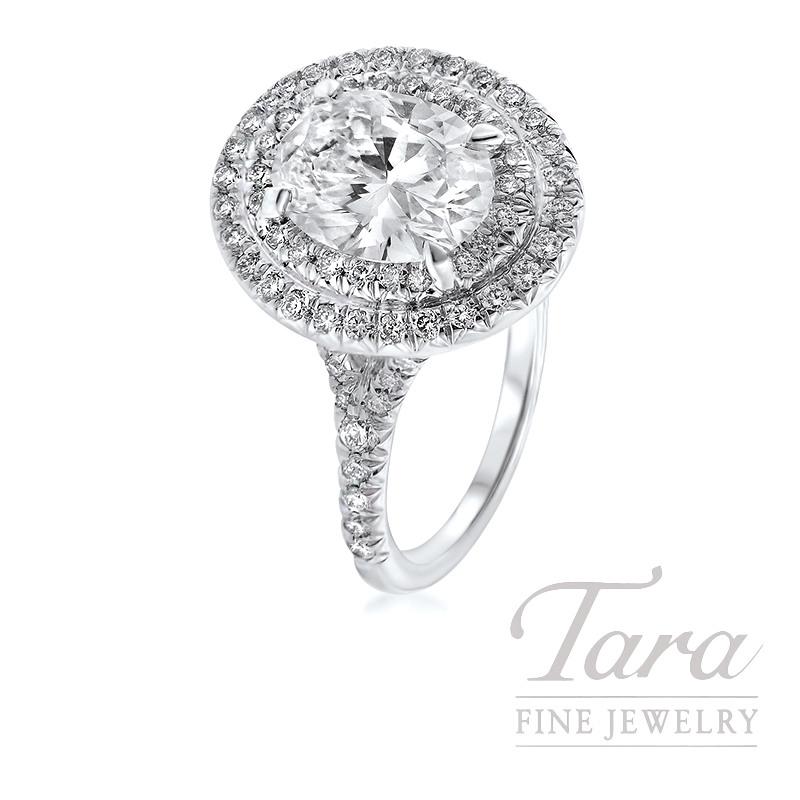 18K White Gold Double Halo Engagement Ring, 6.0G, .50TDW (Center Stone Sold Separately)