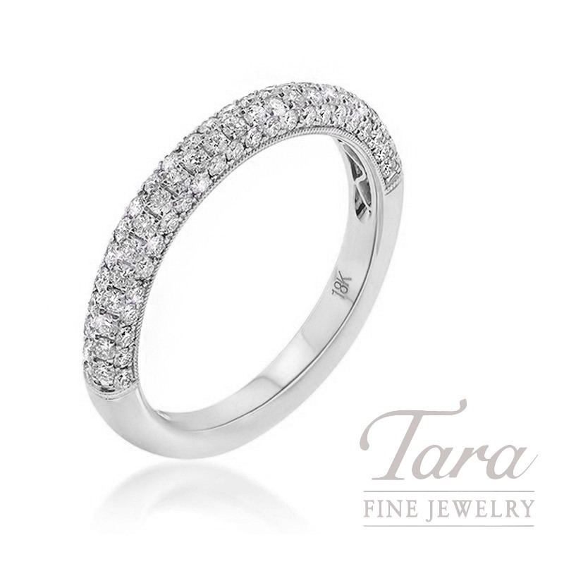 18K White Gold Pave Diamond Band, 3.3G, .66TDW