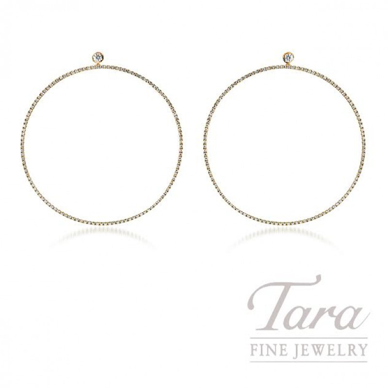 18K Rose Gold Diamond Hoop Earrings, 4.5G, 1.52TDW
