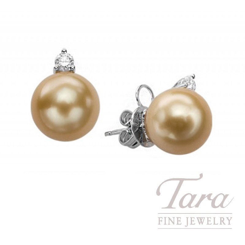 South Sea Pearl & Diamond Earrings in 18K White Gold, 10.5mm Pearls, .20 TDW