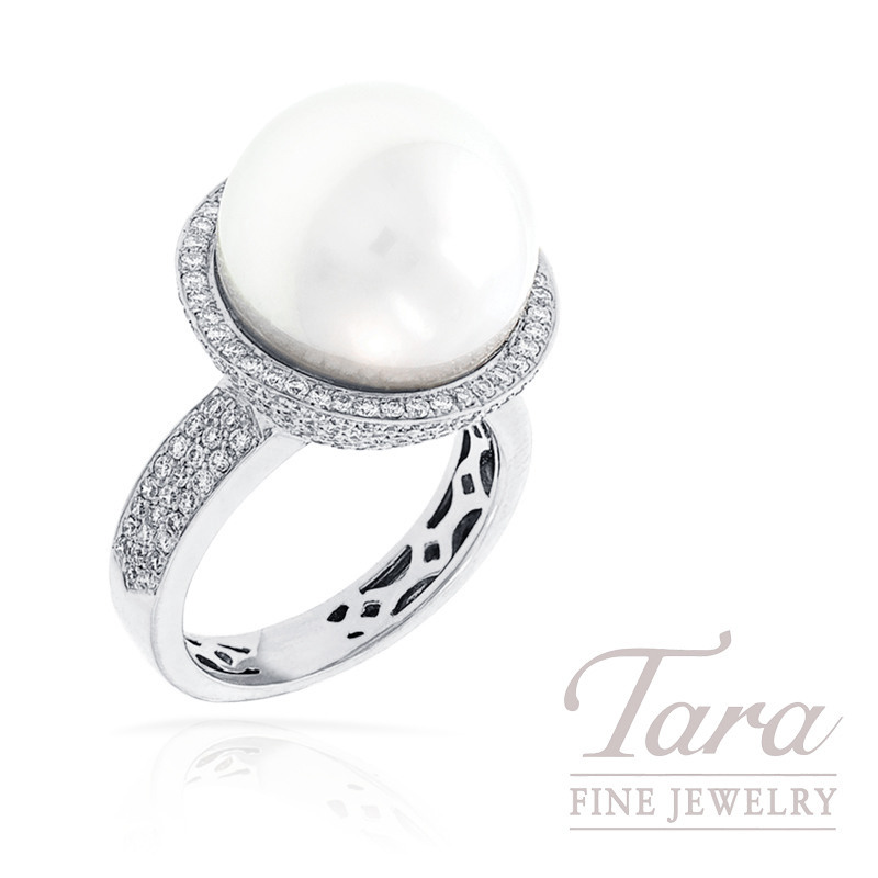 South Seas Pearl and Ring in 18k White Gold, 14mm Pearl, 1.46tdw, 13.0g