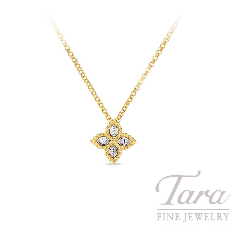 Roberto Coin 18K Yellow Gold Princess Flower Diamond Pendant, .04TDW, Princess Flower Collection