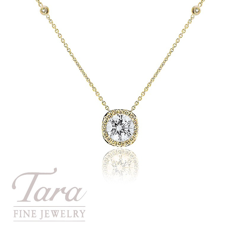 18k Yellow Gold Forevermark Diamond Halo Pendant and Diamond Chain(Click For Available Sizes!)