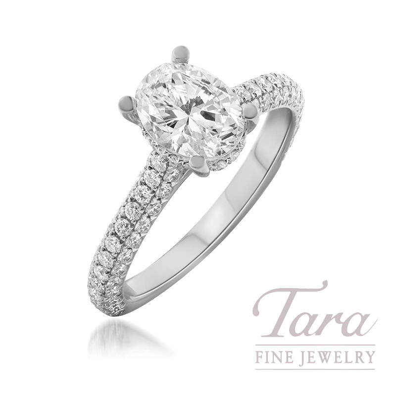 18K White Gold Oval Diamond Pave Engagement Ring, 3.4G, .85TDW (Center Stone Sold Separately)