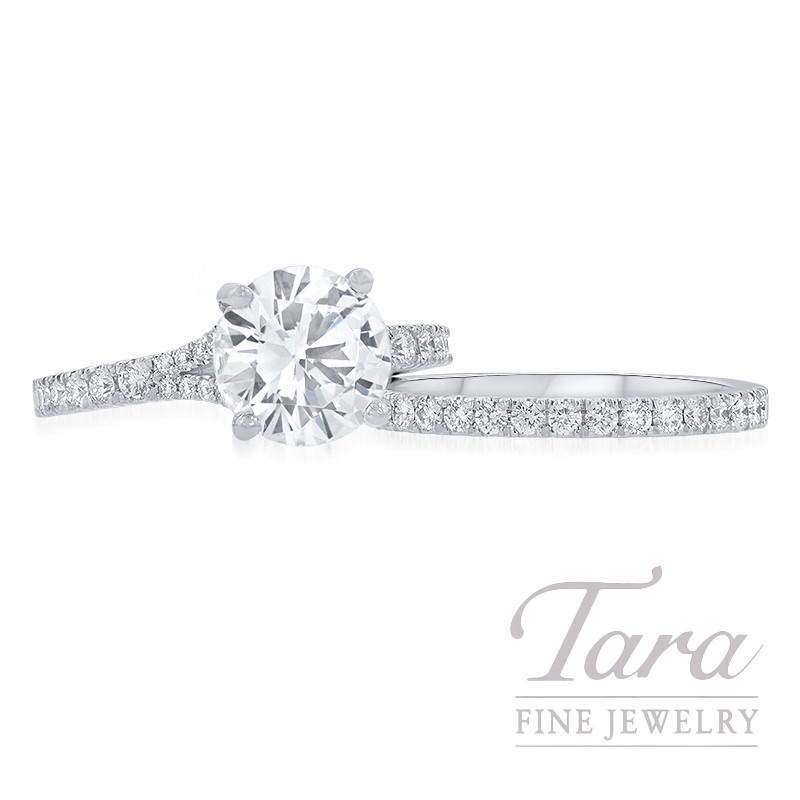 18K White Gold Diamond Wedding Set, .54TDW (Center Stone Sold Separately)