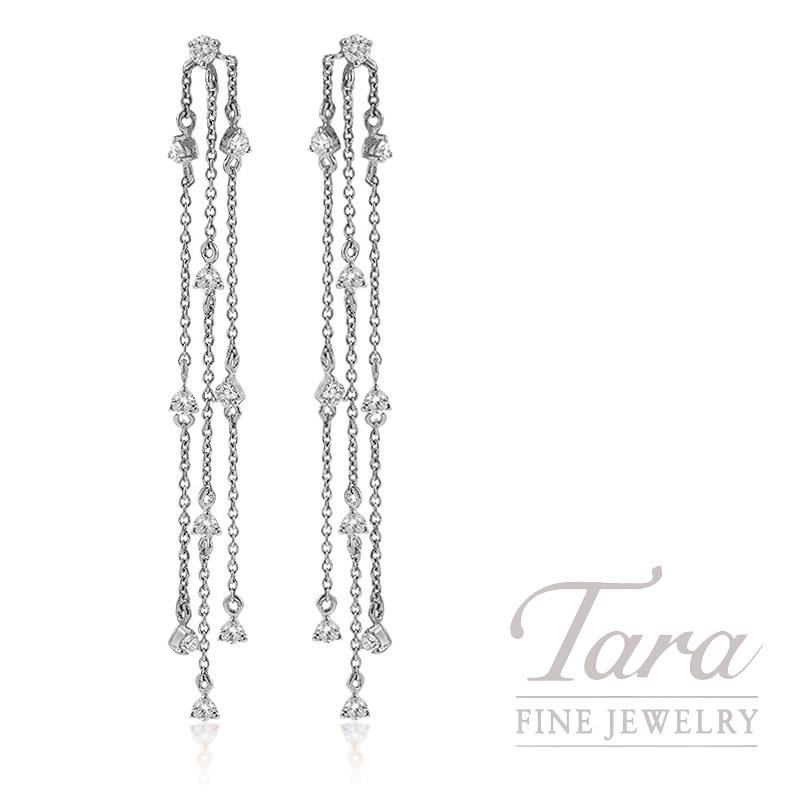 18k White Gold Diamond Dangle Earrings, 2.5G, .64TDW