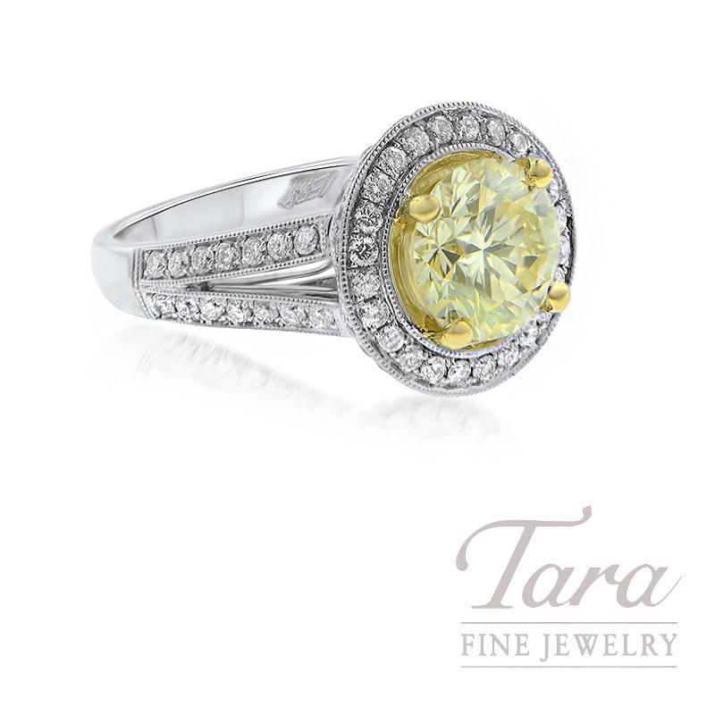18K White Gold Fancy Yellow Diamond Halo Engagement Ring, 6.7G, 2.10CT Fany Yellow Diamond, .77TDW Halo