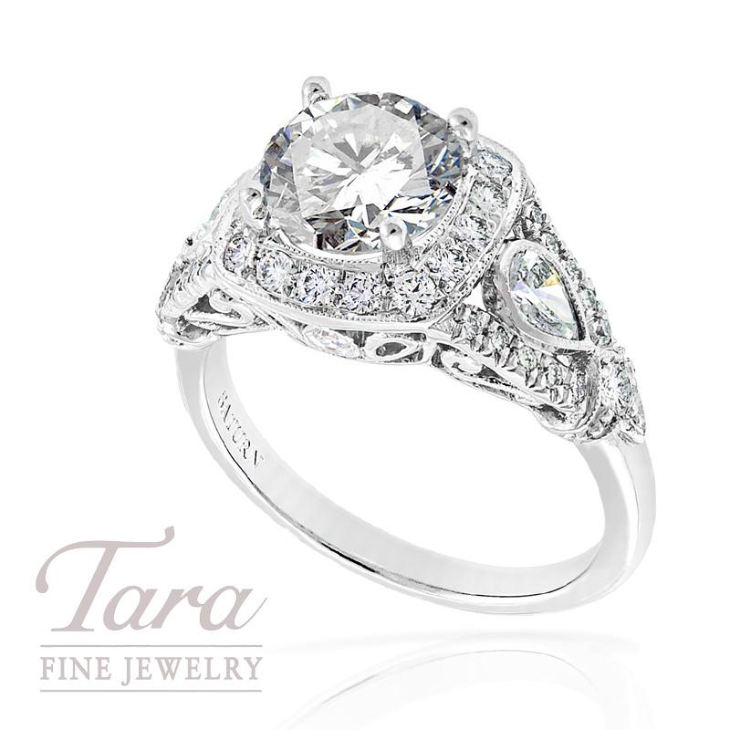 Diamond Wedding Ring in 18k White Gold, .57tdw, 2 Pear .35tdw (Center stone sold separately)