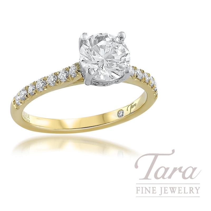 18K Yellow Gold Diamond Semi Mount Ring; 27 Round Diamonds, 0.28TDW