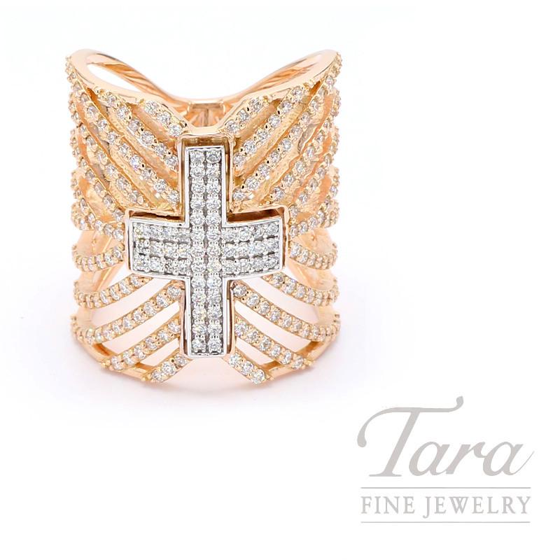 Norman Covan 18K Rose Gold Diamond Cross Ring, 230 Diamonds 1.36TDW, 11.7 Grams
