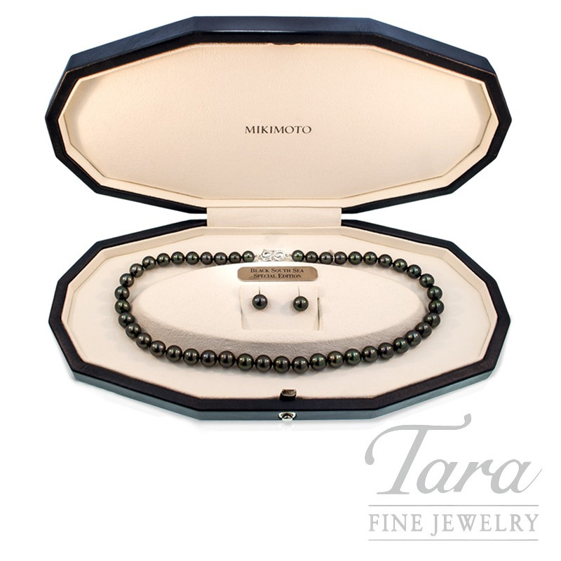 Mikimoto Black South Sea Pearl Necklace and Earrings in 18k White Gold , .04tdw