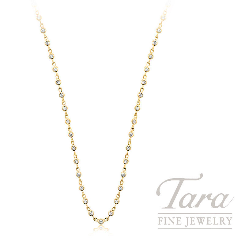"18K Yellow Gold Diamond Bezel Chain, 16/18/20"", 7.2G, .72TDW"