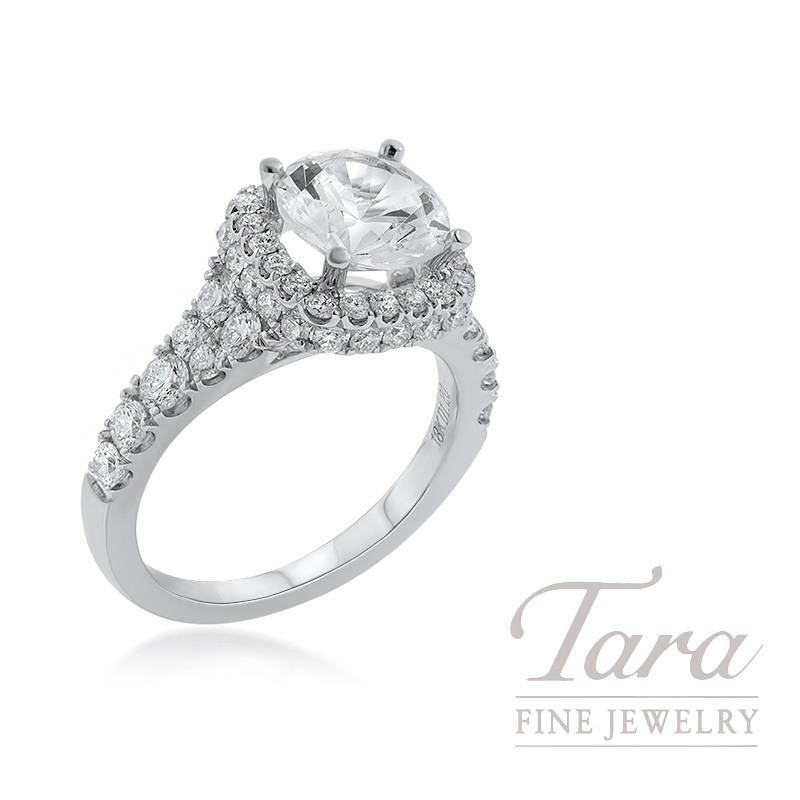 18K White Gold Round Diamond Halo Engagement Ring, 5.8G, 1.20TDW (Center Stone Sold Separately)