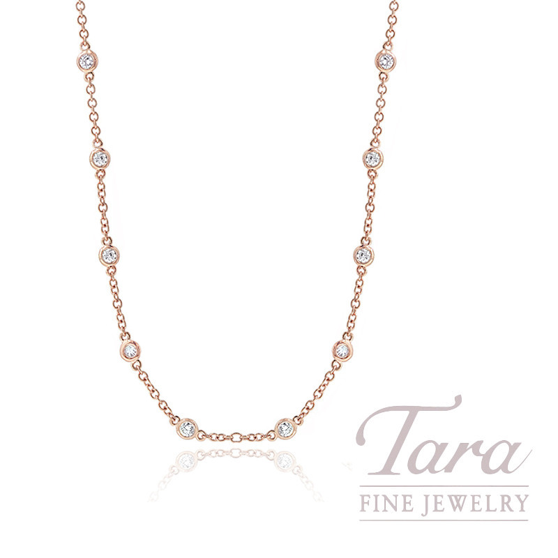 "18K Rose Gold Diamond Chain Necklace, 16/18/20"" Chain, 4.2G, .41TDW"