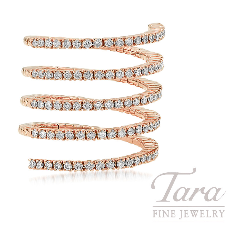 18K Rose Gold Diamond Wrap Ring, 9.3G, .95TDW