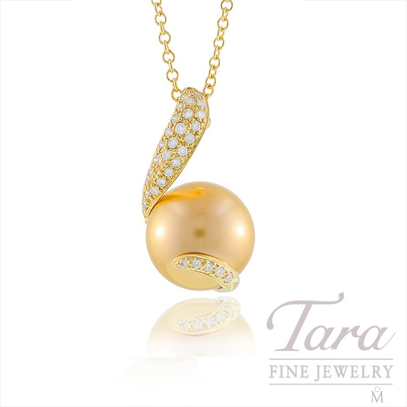 Mikimoto Golden South Seas Pearl and Diamond Pendant in 18k Yellow Gold, .14tdw