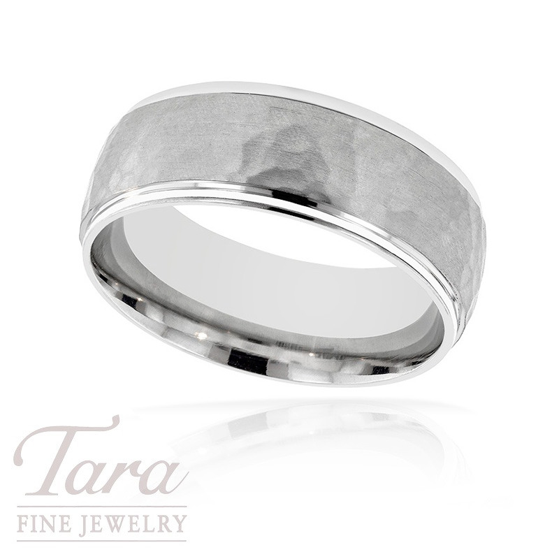 Gentlemen's 18k White Gold Textured Wedding Band, 11.7G