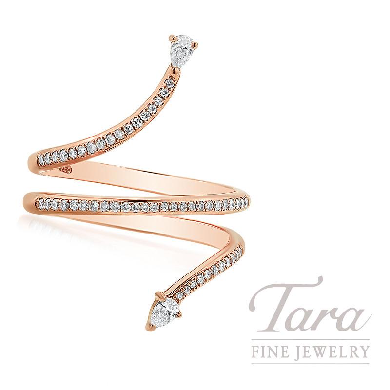 18K Rose Gold Pear-Shape Diamond Wrap Ring, 4.0G, .29TDW
