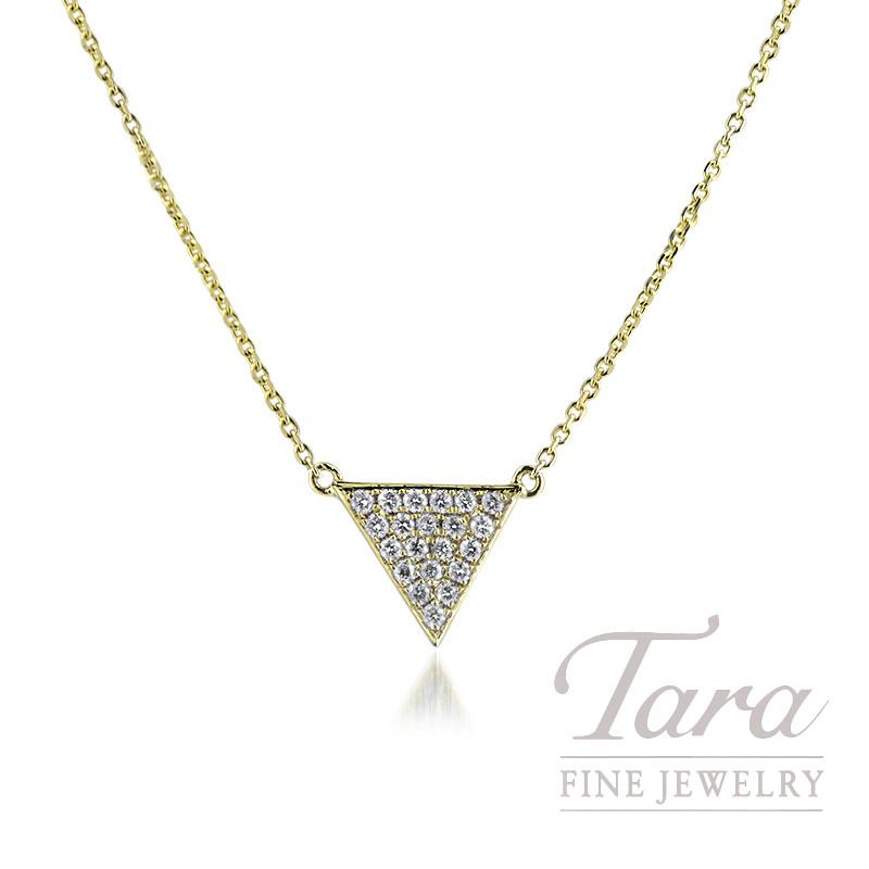 "18K Yellow Gold Diamond Triangle Necklace, 16/18"" Chain, 2.6G, .26TDW"