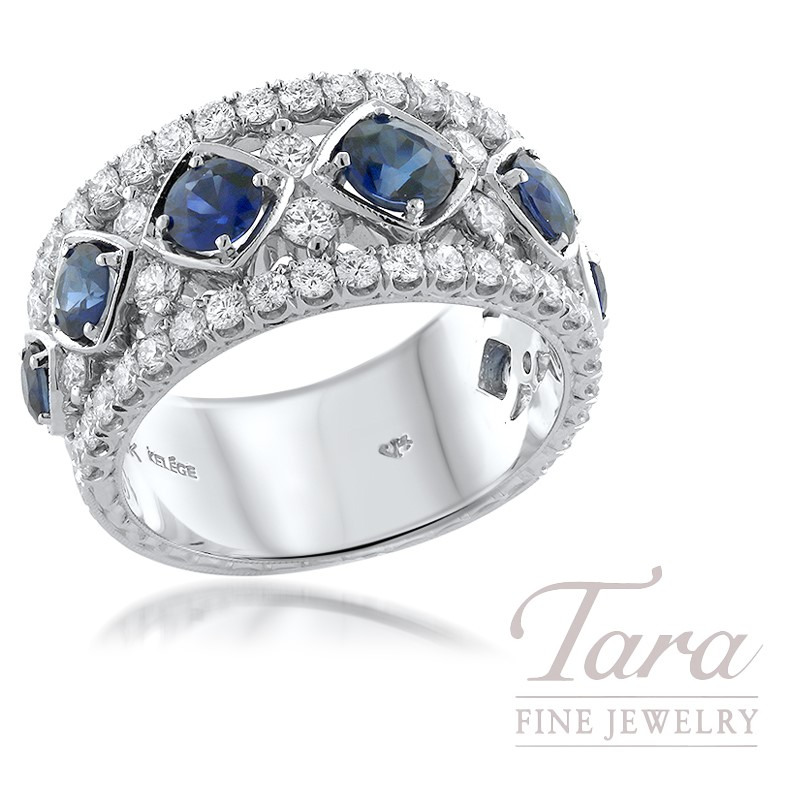 18K White Gold Diamond and Blue Sapphire Ring, 7 Blue Sapphire 1.72TGW, 56 Round Diamonds 1.20TDW