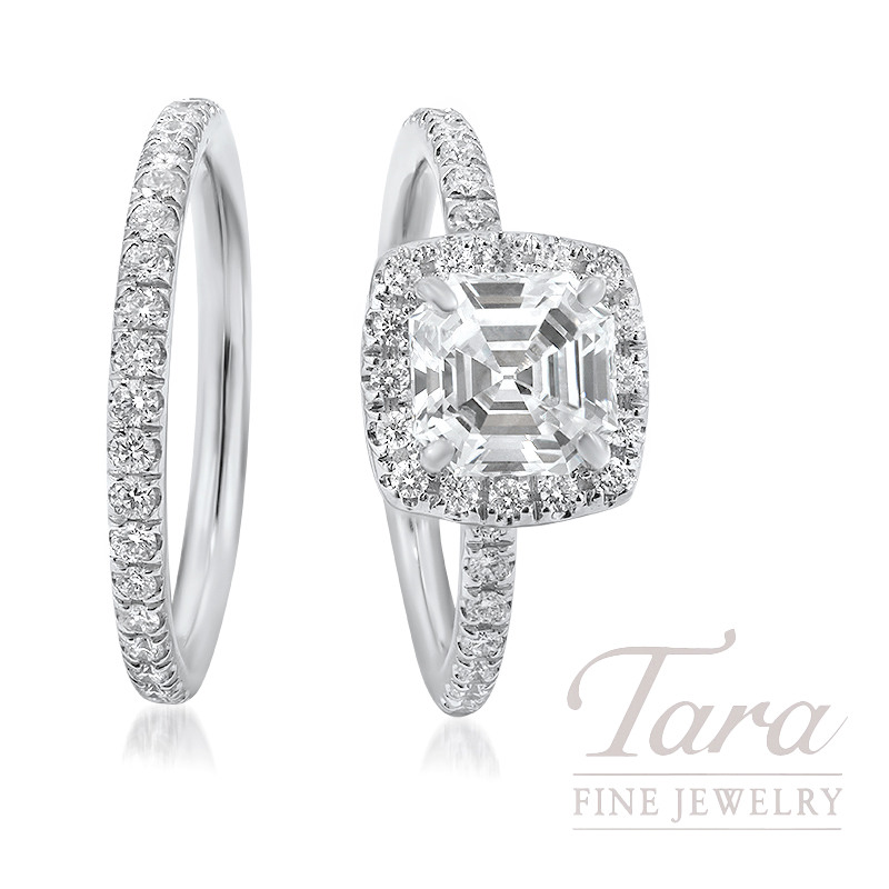 18k White Gold Asscher Cut Diamond Halo Wedding Set, 1.53CT Asscher Cut Diamond, .44TDW (Center Stone Sold Separately)