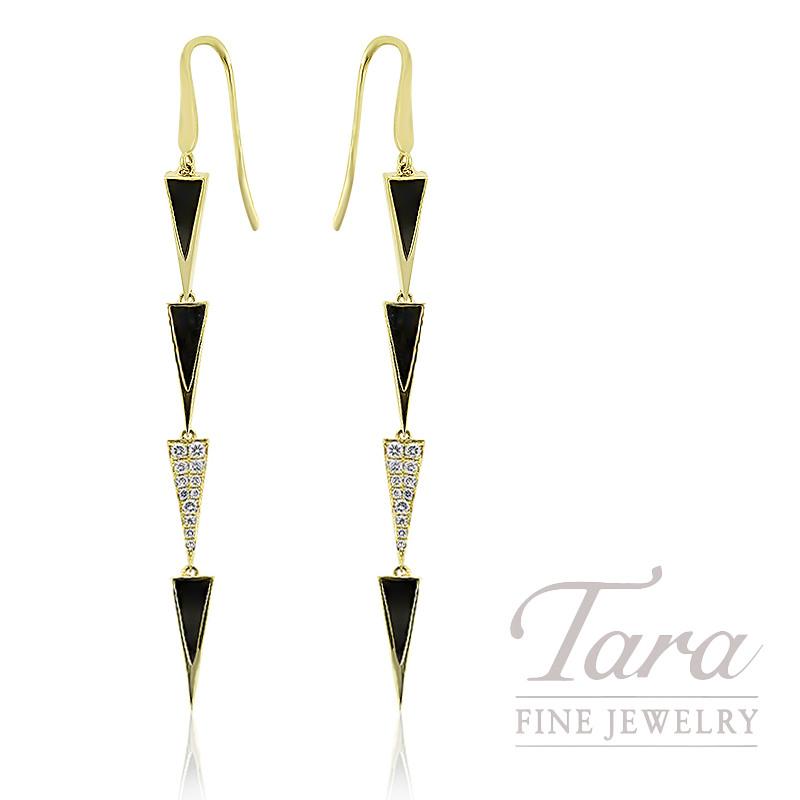 18k Yellow Gold Black Onyx Diamond Dangle Earrings 4 5g 1 33tgw 23tdw