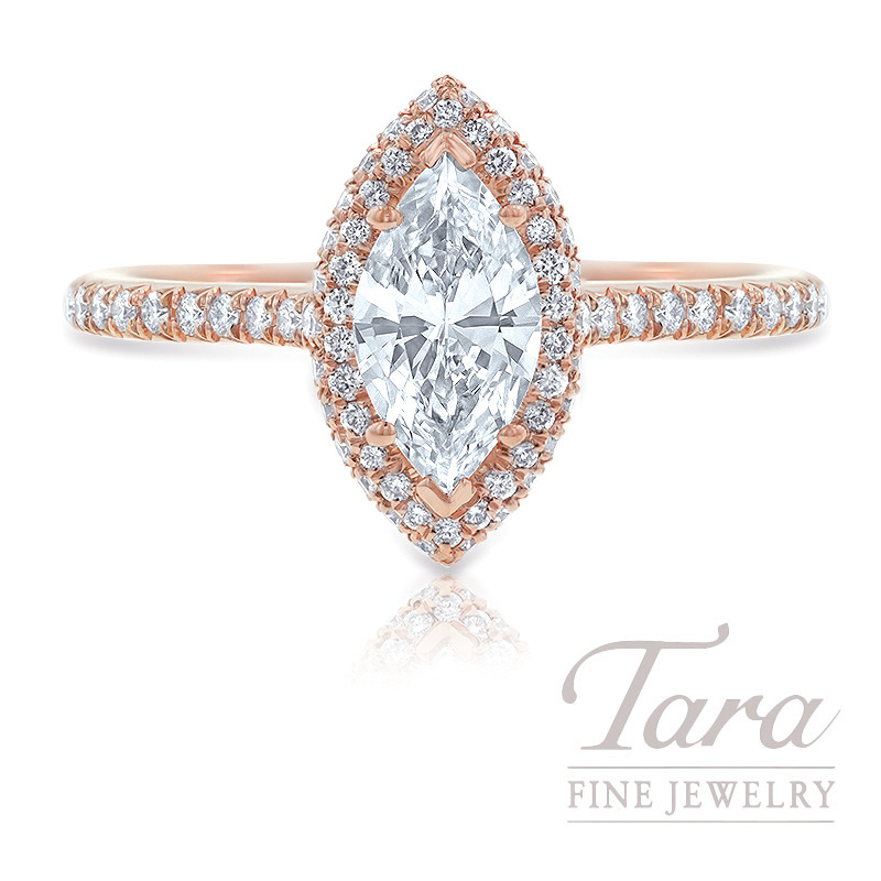 18K Rose Gold Marquise Pave Diamond Halo Engagement Ring, .71CT Marquise Diamond, 3.1G, .31TDW (Center Stone Sold Separately)
