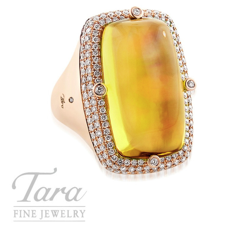Lemon Quartz and Diamond Ring in 18K Rose Gold .92TDW, 15.65CT Lemon Quartz