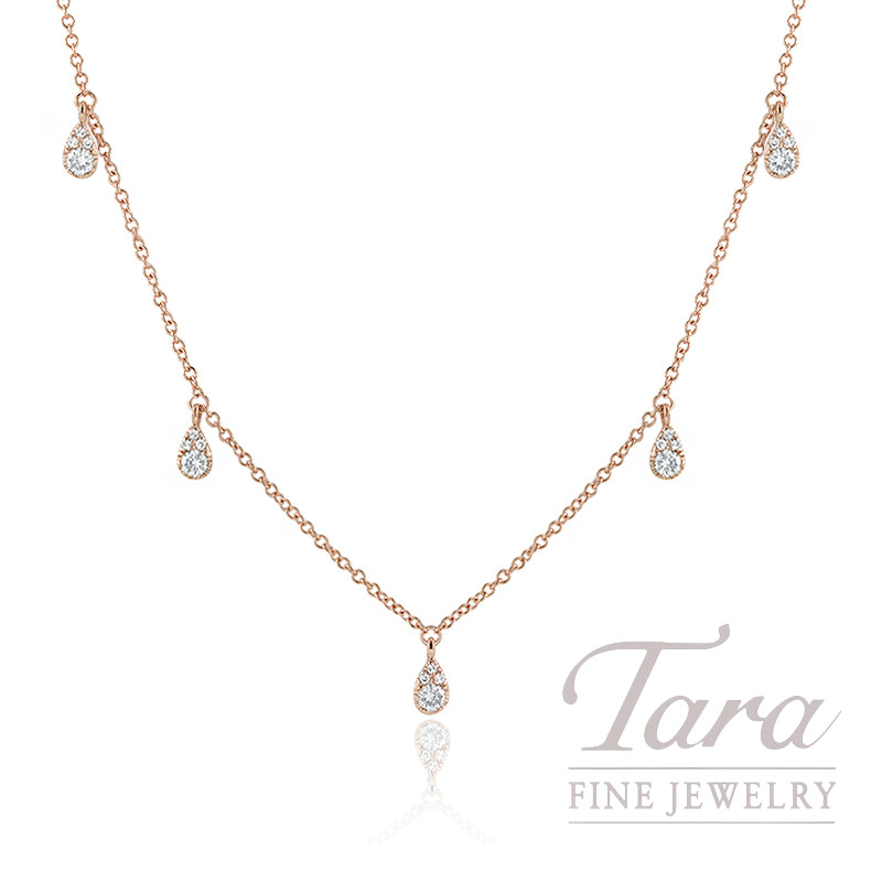 "18K Rose Gold Diamond Stationary Necklace, 16/17/18"" Chain, 2.4G, .27TDW"
