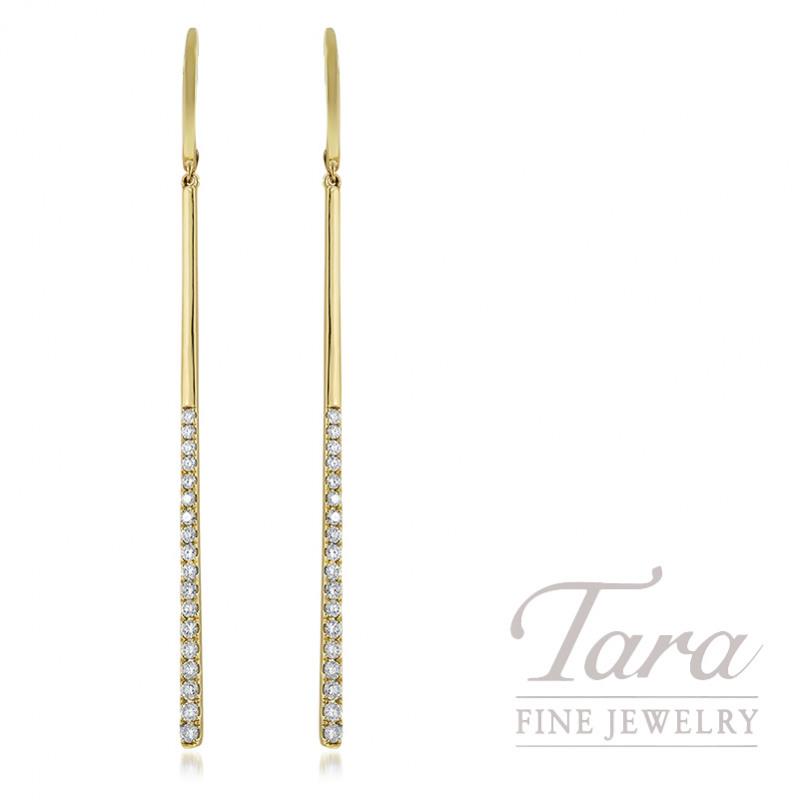 18K Yellow Gold Diamond Bar Dangle Earrings, 5.7G, .75TDW