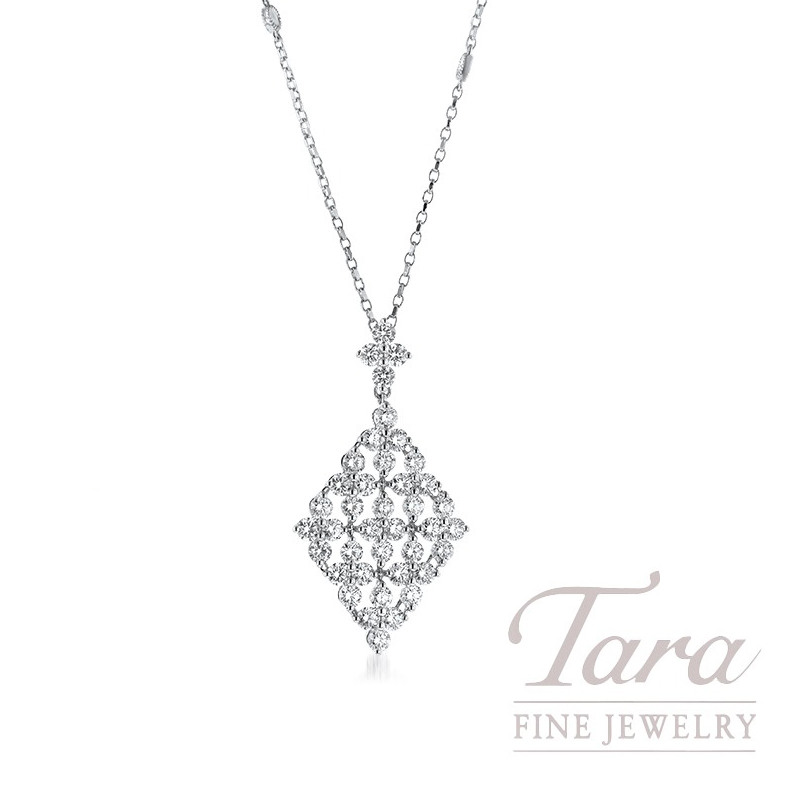 "18K White Gold Diamond Pendant, 18"" Chain, 4.7g, 2.37TDW"