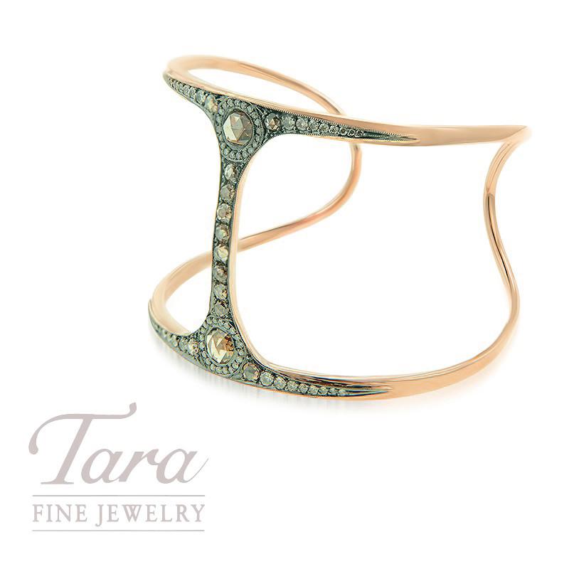 Norman Covan 18K Rose Gold Fashion Bracelet, 21.8g, 1.66TDW Cognac Diamonds, .80TDW Mine Cut