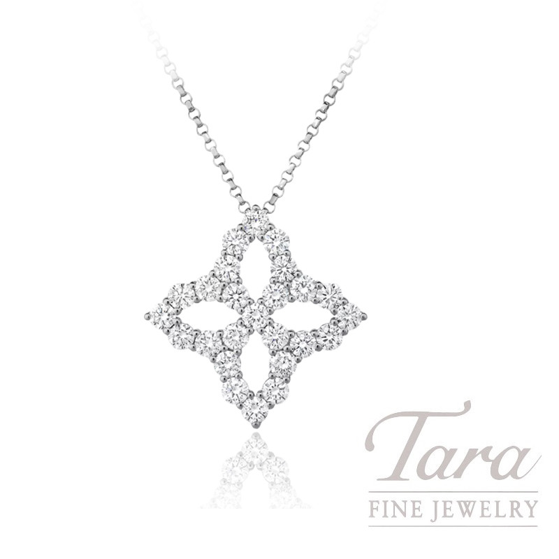 Roberto Coin 18K White Gold Princess Flower Diamond Pendant, 1.23TDW, Princess Flower Collection
