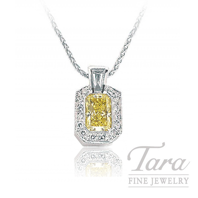 J.B. Star Platinum Radiant Cut Fancy Yellow Diamond Pendant , 1.04CT Fancy Yellow Diamond, .11CT Baguette, .12TDW Round Diamonds