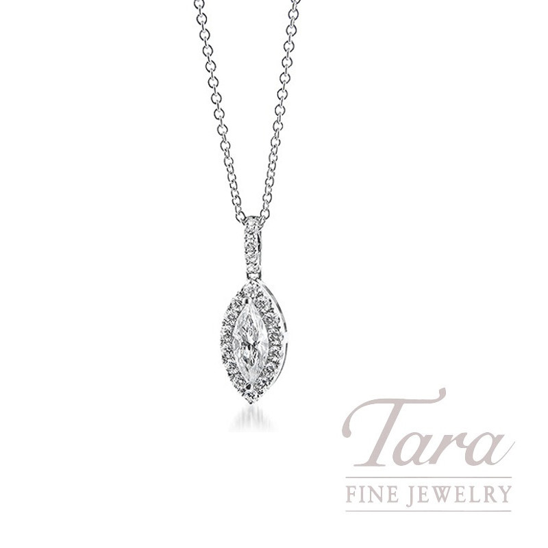 18K White Gold Marquise Diamond Halo Pendant, 1.1G, .47CT Marquise, .47TDW Round Diamonds