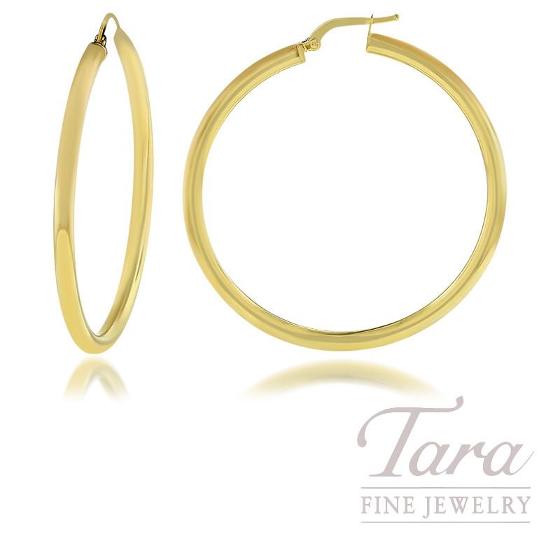 14K Yellow Gold 3 X 45MM Hoop Earrings, 3.8G