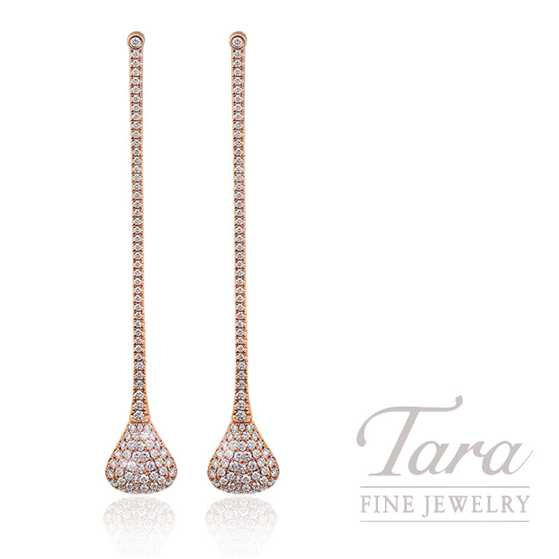 18k Rose Gold Pave Diamond Drop Earrings 6 6g 1 23tdw