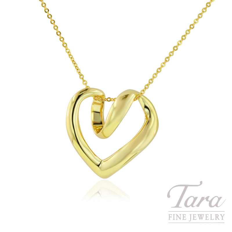 14K Yellow Gold Heart Swirl Pendant, 2.3G