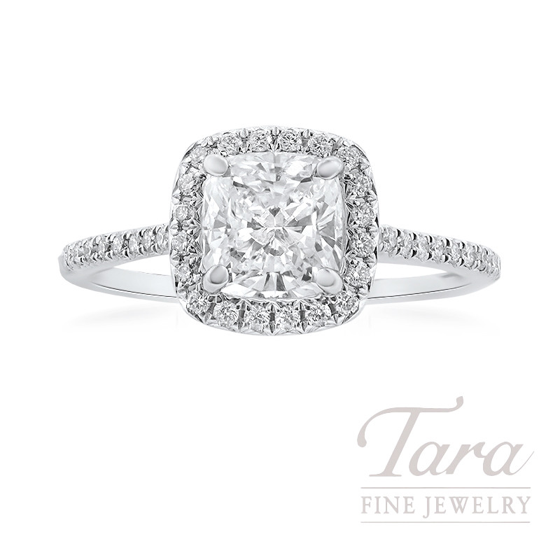18k White Gold Cushion Diamond Halo Engagement Ring, 1.51CT Cushion Diamond, .36TDW (Center Stone Sold Separately)