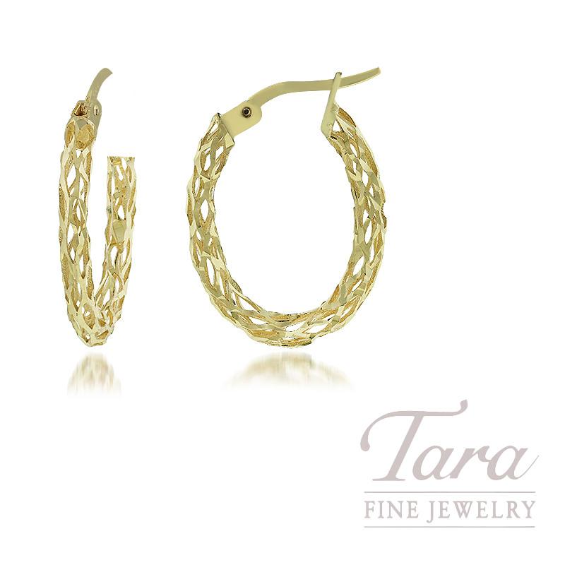 14K Yellow Gold Oval Diamond Cut Hoop Earrings, 2.5G