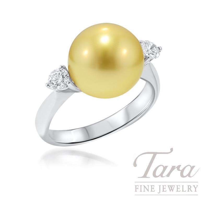 Golden South Sea Pearl & Diamond Ring Set in 18K White Gold, .19 tdw
